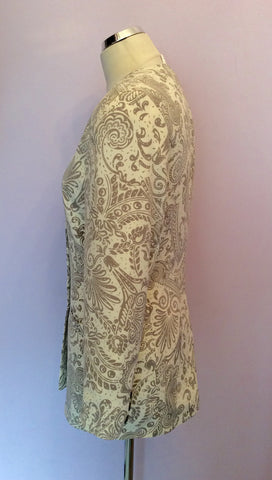 Alexon Beige & Ivory Print Occasion Jacket Size 10 - Whispers Dress Agency - Womens Suits & Tailoring - 2