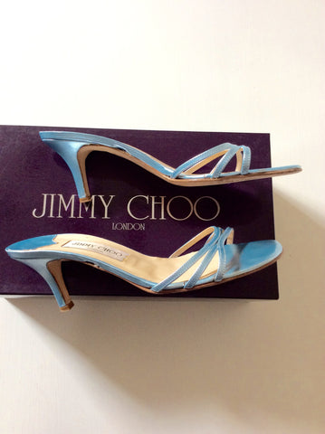 Jimmy Choo Light Blue Strappy Heeled Mule Sandals Size 4/37 - Whispers Dress Agency - Womens Heels - 2