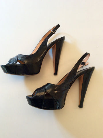 SERGIO ROSSI BLACK PATENT LEATHER PEEPTOE SLINGBACK HEELS SIZE 5/38 - Whispers Dress Agency - Womens Heels - 1