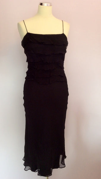 Monsoon Black Silk Tiered Top Strappy Dress Size 10 - Whispers Dress Agency - Womens Dresses - 1