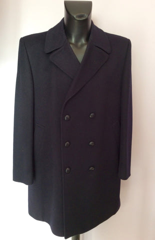 Marks & Spencer Black Wool Double Breasted Coat Size 44 - Whispers Dress Agency - Mens Coats & Jackets - 1