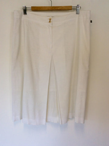 AQUASCUTUM WHITE LINEN BLEND PLEATED FRONT SKIRT SIZE 16 - Whispers Dress Agency - Womens Skirts - 1