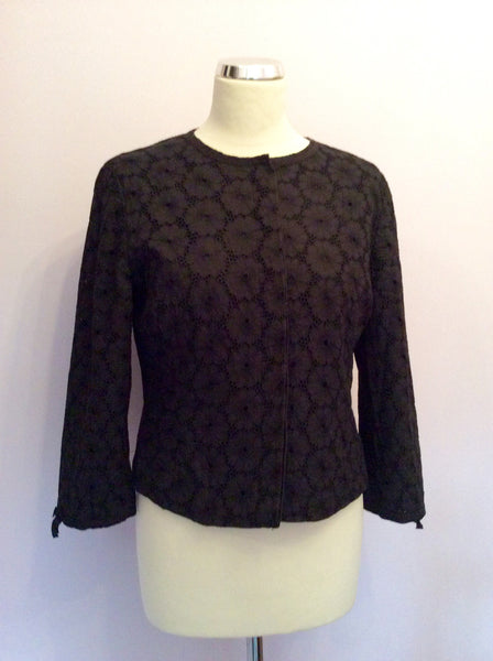 Laura Ashley Black Broidery Anglaise Cotton Jacket Size 10 - Whispers Dress Agency - Womens Coats & Jackets - 1