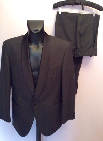 Scott & Taylor Black Tuxedo Wool Blend Suit Size 42R/ 36W - Whispers Dress Agency - Mens Suits & Tailoring - 1