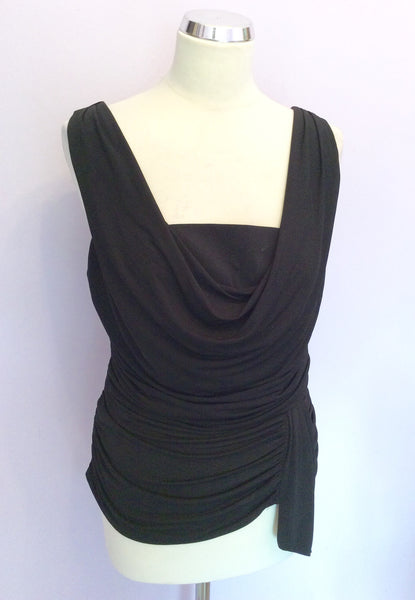 Coast Black Sleeveless Drape Top Size 14 - Whispers Dress Agency - Womens Tops - 1