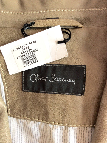 BRAND NEW OLIVER SWEENEY FOUNTAIN GREY (DARK BEIGE) SOFT LEATHER JACKET SIZE XL - Whispers Dress Agency - Mens Coats & Jackets - 4