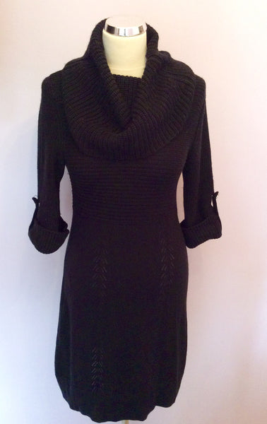 Karen Millen Black Roll Neck Wool Blend Knit Dress Size 1 UK 10 - Whispers Dress Agency - Sold - 1