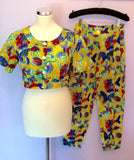 Vintage Jaeger Yellow Print Crop Top & Trousers Approx Size 6/8 - Whispers Dress Agency - Sold - 1