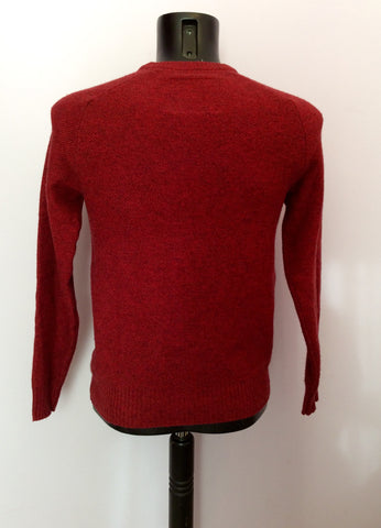 JACK WILLS DARK RED MERINO WOOL & COTTON V NECK JUMPER SIZE XS - Whispers Dress Agency - Mens Knitwear - 2