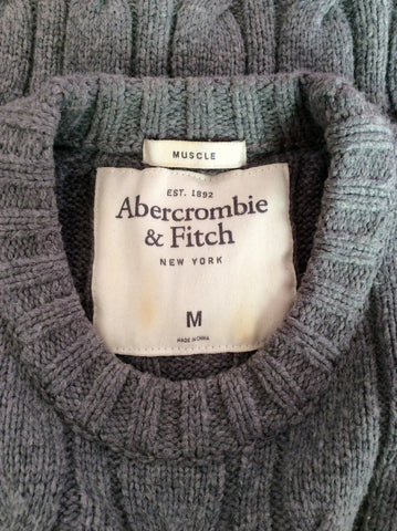 Abercrombie & Fitch Grey Cable Knit Jumper Size M - Whispers Dress Agency - Mens Knitwear - 3