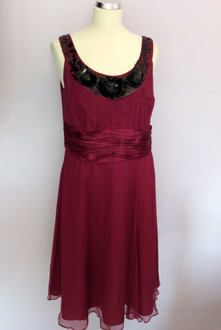 BRAND NEW MONSOON CRANBERRY & BLACK BEAD & SEQUIN TRIM SILK DRESS SIZE 14 - Whispers Dress Agency - Sold - 1