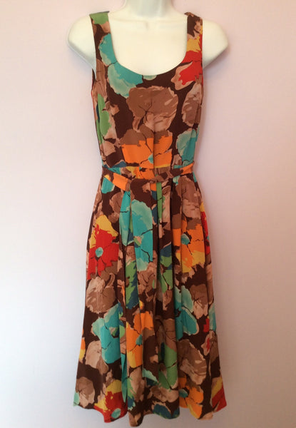 Laura Ashley Brown Floral Print Silk Dress Size 8 - Whispers Dress Agency - Sold - 1