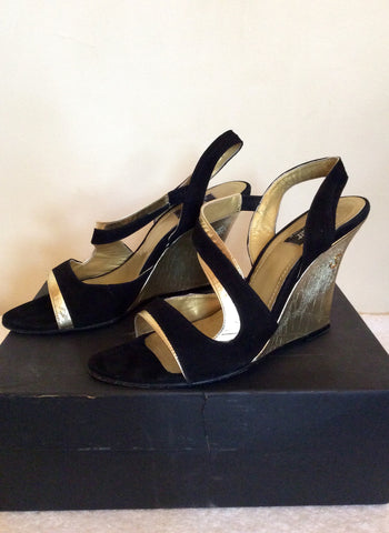 Strutt Couture Black & Gold Wedge Heel Sandals Size 6/39 - Whispers Dress Agency - Womens Wedges - 4