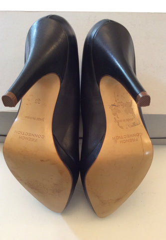 BRAND NEW FRENCH CONNECTION BLACK LEATHER HEELS SIZE 3.5/36 - Whispers Dress Agency - Womens Heels - 5