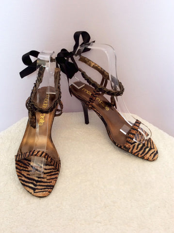 Brand New Moda In Pelle Tiger Print Ribbon & Charms Sandal Size 3.5/36 - Whispers Dress Agency - Womens Sandals - 2