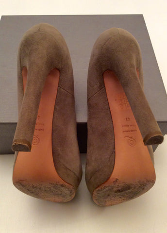 Alexander Mcqueen Olive Green Suede Skull Trim Heels Size 7.5/41 - Whispers Dress Agency - Womens Heels - 6