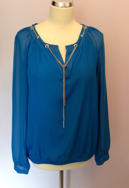 Star By Julien Macdonald Bright Blue & Silver Chain Blouse Size 16 - Whispers Dress Agency - Sold - 1