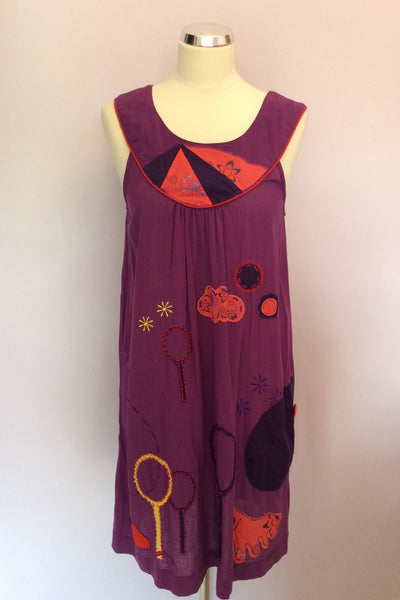 Numph Purple Embroidered Print Shift Dress Size 14 - Whispers Dress Agency - Womens Dresses - 1