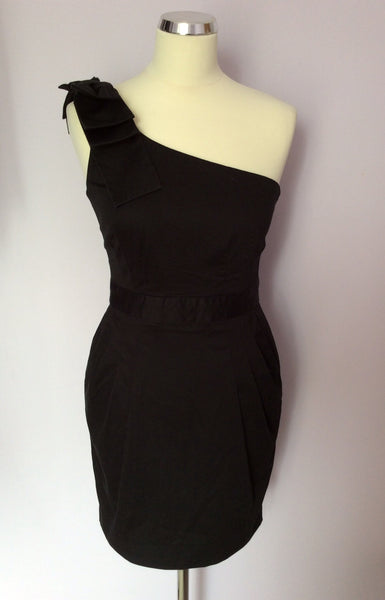 French Connection Black Bow Trim One Shoulder Dress Size 10 - Whispers Dress Agency - Sold - 1