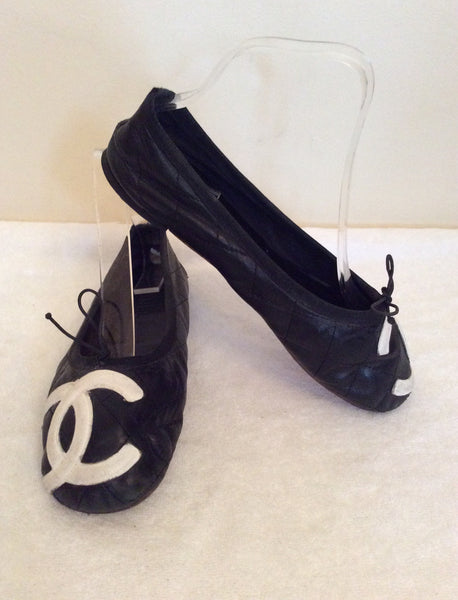 Chanel Black & White Cambon Ballet Flats Size 5/38 - Whispers Dress Agency - Sold - 1