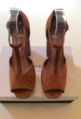 BRAND NEW KURT GEIGER TAN SUEDE PEEPTOE PLATFORM HEELS SIZE 7/40 - Whispers Dress Agency - Womens Heels - 2