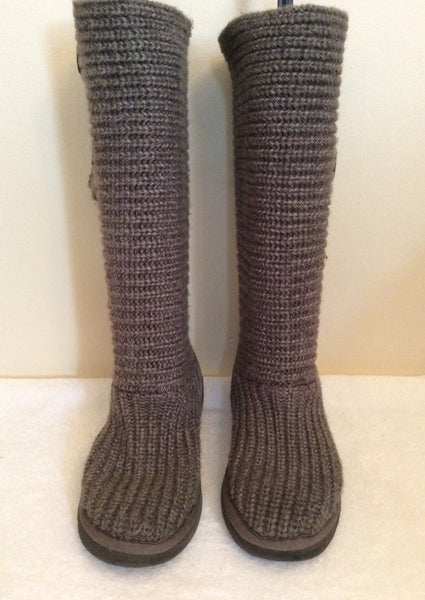 Ugg Grey Knit Button Trim Boots Size 4/37 - Whispers Dress Agency - Sold - 1