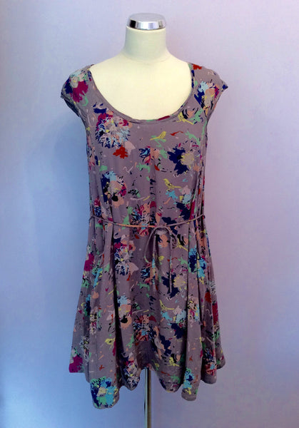 White Stuff Grey & Multi Coloured Print Mini Dress Size 12 - Whispers Dress Agency - Sold - 1