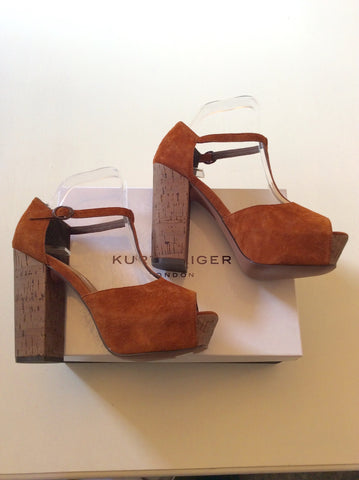 BRAND NEW KURT GEIGER TAN SUEDE PEEPTOE PLATFORM HEELS SIZE 7/40 - Whispers Dress Agency - Womens Heels - 1