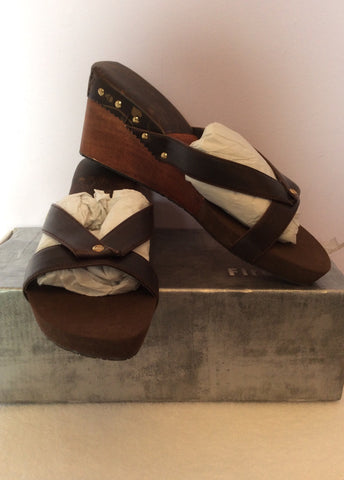 Brand New Firetrap Brown Slip On Wedge Heel Mules Size 7/40 - Whispers Dress Agency - Womens Mules & Flip Flops - 2