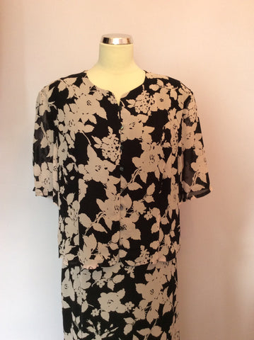 Vintage Jaeger Black & Pink Floral Print Top & Skirt Size 18 - Whispers Dress Agency - Womens Vintage - 3