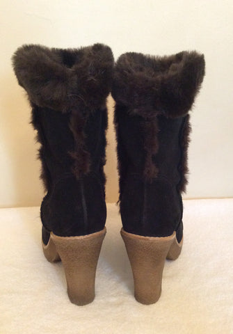 Carvela Dark Brown Suede & Faux Fur Trim Ankle Boots Size 5/38 - Whispers Dress Agency - Womens Boots - 5