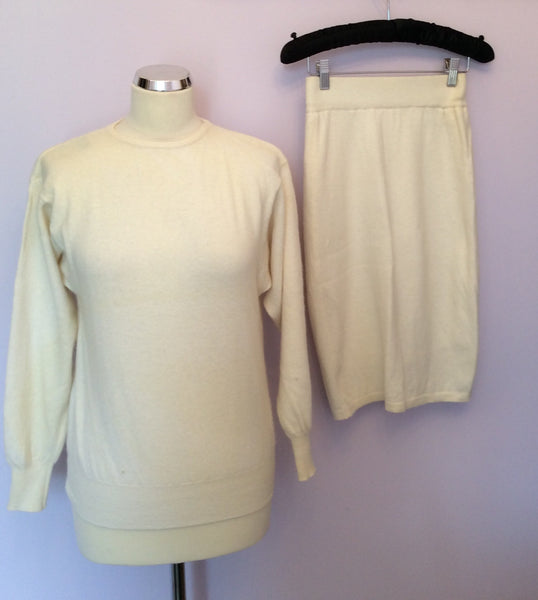 Vintage United Colours Of Benetton Ivory Jumper & Skirt Suit Size S/M - Whispers Dress Agency - Sold - 1