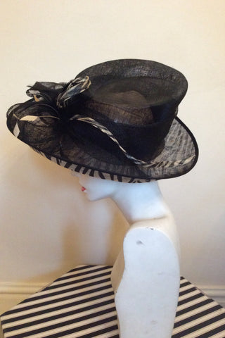 Marks & Spencer Autograph Black & Cream Print Formal Hat - Whispers Dress Agency - Womens Formal Hats & Fascinators - 2