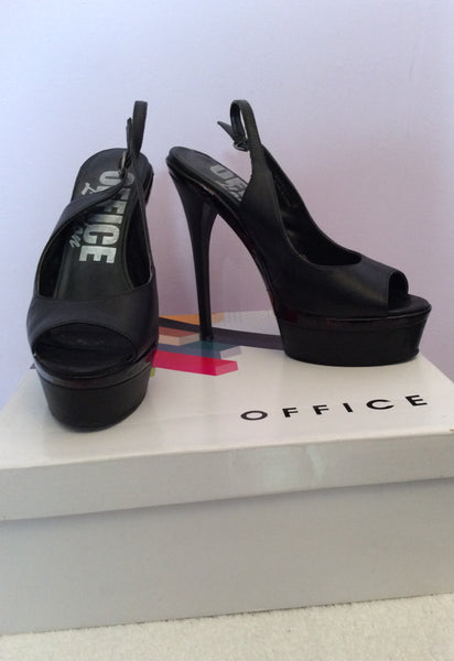 Office Black Leather Platform Sole Slingback Heels Size 5/38 - Whispers Dress Agency - Sold - 1