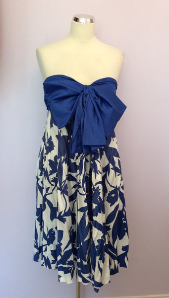 VINTAGE JAEGER BLUE & WHITE PRINT STRAPLESS COTTON DRESS SIZE UK 10/12 - Whispers Dress Agency - Womens Vintage - 1