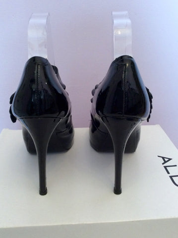 Aldo Black Patent Leather Peeptoe Mary Jane Heels Size 5/38 - Whispers Dress Agency - Womens Heels - 3