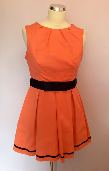 Amy Childs Orange & Blue Trim Cotton Skater Dress Size 14 - Whispers Dress Agency - Sold - 1