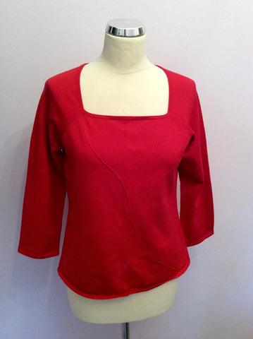 Sydney Easton Red Silk Blend Square Neck Jumper Size L - Whispers Dress Agency - Womens Knitwear - 1