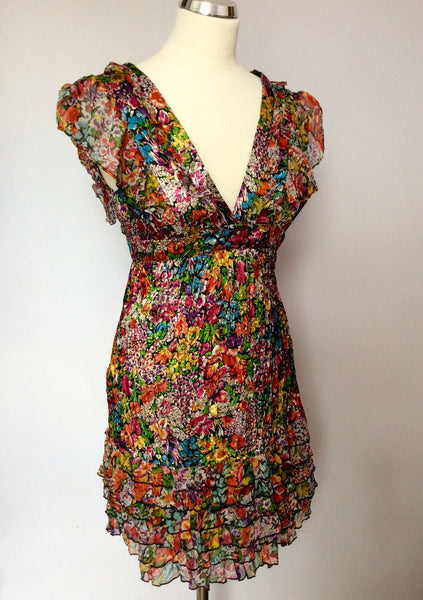 Lipsy Multi Coloured Satin Floral Print Mini Dress Size 6 - Whispers Dress Agency - Sold - 1
