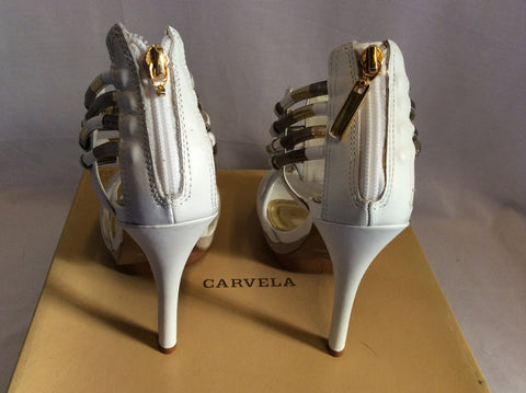 Brand New Carvela Ghostly White Leather Heeled Sandals Size 6/39 - Whispers Dress Agency - Womens Sandals - 3
