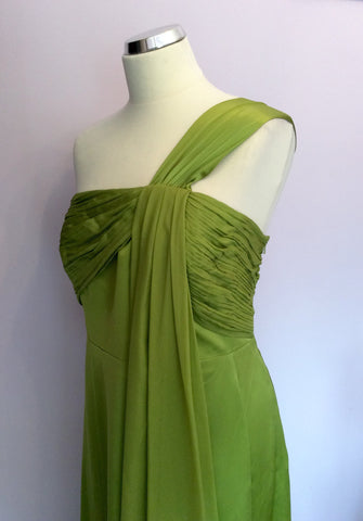BRAND NEW MONSOON LIME GREEN SILK MAXI DRESS SIZE 18 - Whispers Dress Agency - Womens Dresses - 2