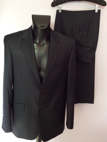 Racing Green Navy Blue Pinstripe Wool Suit Size 40L/ 34L - Whispers Dress Agency - Mens Suits & Tailoring - 1