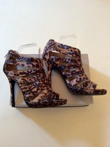 ALDO BROWN LEOPARD PRINT STRAPPY HIGH HEEL SANDALS SIZE 6 - Whispers Dress Agency - Womens Sandals - 1