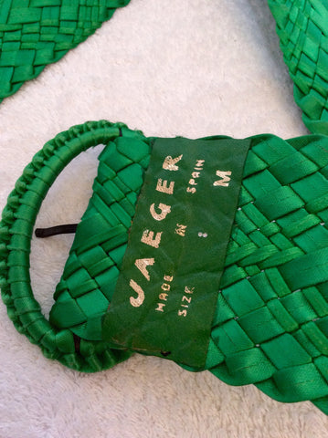 Vintage Jaeger Green Satin Plaited 3 Inch Belt Size M - Whispers Dress Agency - Vintage Accessories - 3