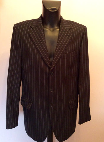Aquascutum Charcoal Pinstripe Wool Suit Jacket Size 42L - Whispers Dress Agency - Mens Suits & Tailoring - 1