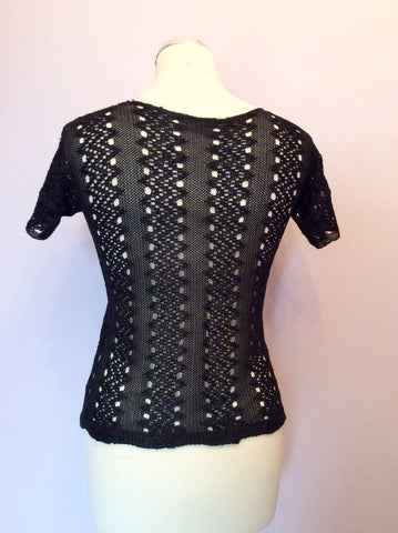 Vintage Black Crocheted Fine Knit Top Size S - Whispers Dress Agency - Womens Vintage - 2