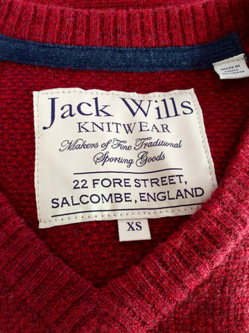 JACK WILLS DARK RED MERINO WOOL & COTTON V NECK JUMPER SIZE XS - Whispers Dress Agency - Mens Knitwear - 3
