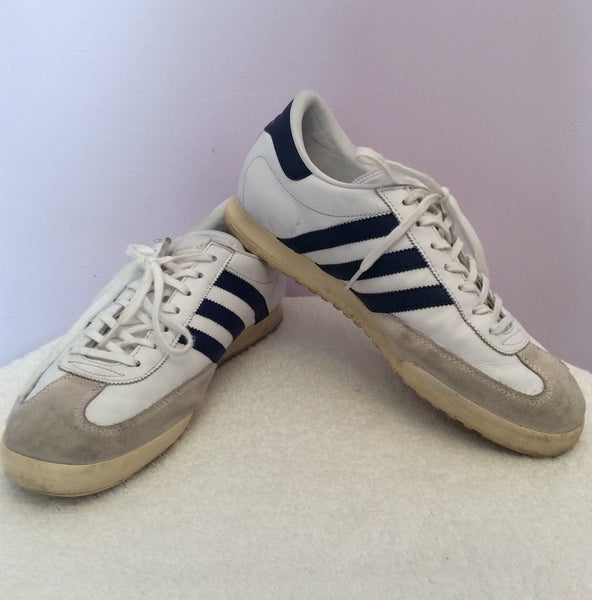 Adidas Beckenbauer Blue & White Leather Trainer Size 9/43.5 - Whispers Dress Agency - Sold - 1