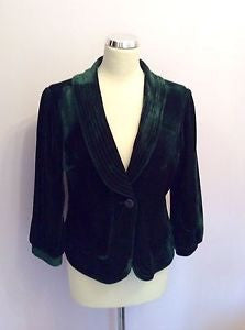 Cream Of Denmark Dark Green Velvet Jacket Size 40 UK 10 - Whispers Dress Agency - Sold - 1