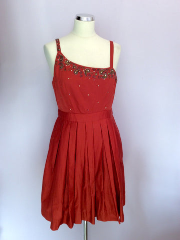 Brand New Monsoon Orange Beaded & Sequin Trim Cotton Dress Size 14 - Whispers Dress Agency - Womens Dresses - 1